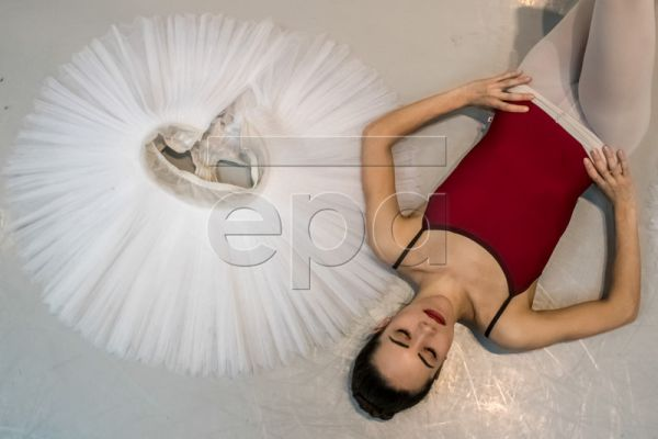 A dancer of the Czech National Ballet relaxes after a rehearsal of 'Swan Lake' at the National Theatre in Prague, Czech Republic, 13 February 2019. Swan Lake ballet is one of the famous of all classical ballets, the most frequently performed and the most popular worldwide. The new Czech National Ballet production is a revival of the story's version created by the world-renowned choreographer John Cranko, the founder of the Stuttgarter Ballett. The Czech National Ballet is the first big company to have been