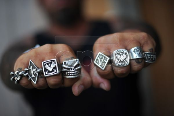 Florida Warlock Dimond Dave shows off his rings during a fundraising event to raise money for local children held at the Warlocks Rock Hill Chapter club house in Antioch, West Virginia, USA, 07 August 2010. Only full patch Warlocks are allowed to buy and wear the custom made jewellery. The Warlocks is a one per cent Motorcycle Club with active chapters on the East Coast of the United States, England and Germany. The One Percenter designation has its origin in the American Motorcycle Associations assertion f