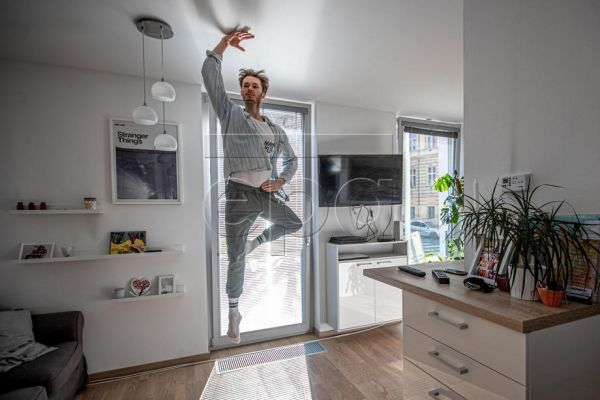 Patrik Holecek, soloist of The Czech National Ballet, jumps as he practices at home in Prague, Czech Republic, 01 April 2020. The coronavirus first appeared in the Czech Republic on 01 March 2020, and the government was one of the earliest in Europe to impose a full lockdown to slow the spread which affected every aspect of life, including the Czech National Ballet.The nationwide quarantine forced all non-essential workers, including artists, into home confinement. For ballet dancers whose profession requir